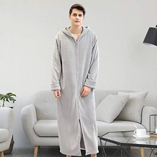 Pijama de Pareja Franela Albornoz cálido Otoño Invierno Vestido de Dormir Grueso Mujer Hombre Pijama Vestido con Sombrero