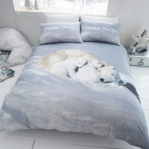 Catherine Lansfield Brushed Polar Bear Double Duvet Set White