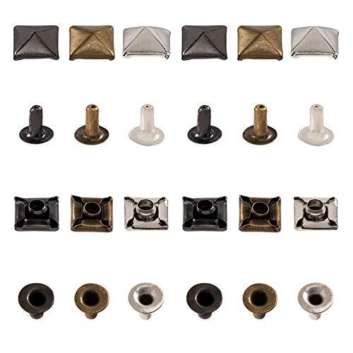 PandaHall 120 Set Punte a Base Quadrata piramidale da 6 mm, 3 Colori Borchie Lunghe 5 mm in Ottone per Borchie in Pelle Punk, Borse, Cappelli, Decor Scarpe, Canna di Fucile/Platino/Bronzo Antico