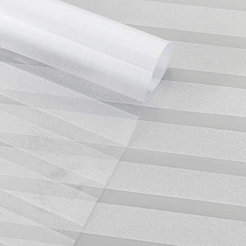 Arvioo Homeway inkijkwerende folie voor ramen, elektrostatisch, mat, ondoorzichtig, PVC, niet hechtend, 3D, anti-UV-film, voor thuis, kantoor, keuken (strepen) (91 _ x _ 200 cm)