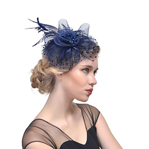 Fashband Bridal Shower Fascinator Hut Flower Mesh Federn auf einem Stirnband und einem Clip Cocktail Tea Party Kopfbedeckungen Derby Kentucky Races Ceremony Zylinder für Mädchen und Frauen (Navy blau)