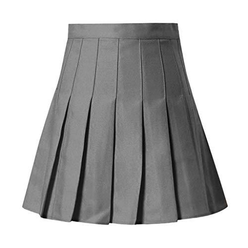 Sencillo Vida Plisado Corto De Tenis De Cintura Alta para Niñas,Falda Mujer Mini Corto Elástica Plisada Básica Multifuncional con
