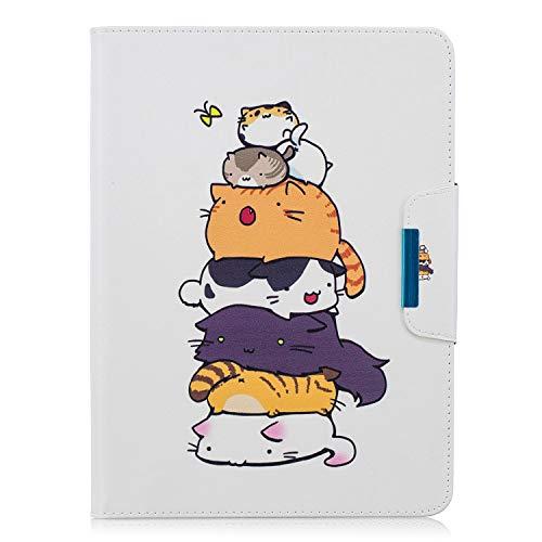XTstore Samsung Galaxy Tab 4 10.1 Funda SM-T530/T535, Carcasa Cuero Cubierta de Protectora Case con Ranuras para Tarjetas para Samsung Galaxy Tab 4 Tablet de 10.1 Pulgadas, Gato