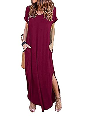 BLUETIME Womens V Neck Casual Maxi Dress Pocket Short Sleeve Split Loose Long Dress