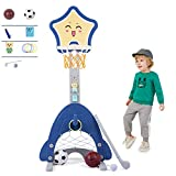 Soporte Aro Baloncesto BebéS Juego Juguetes 3 En 1 con Traje Golf Soporte Baloncesto Ajustable Easy Score Kids Sport Game Toys