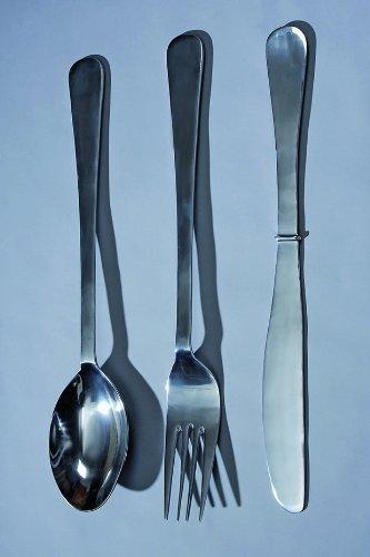 3er-Set Wand-Objekt Deko *Besteck* Messer+Gabel+Löffel XXL Alu silber - H100cm