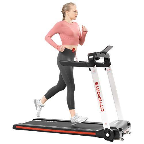 Cinta de correr eléctrica plegable con pantalla LCD y monitor de pulso, 2 HP 1-15 km/h, con Bluetooth, máquina de entrenamiento para fitness en interiores BJY969