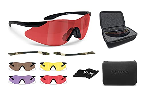 BERTONI Shooting Glasses with 4 Interchangeable AntiFog Lenses Carrying Case and Additional Arms – SH890 by Bertoni Italy Tactical Protective Trap Safety Glasses