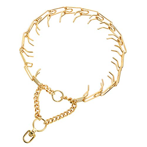 Aiyidi Dog Prong Collar Silver/ Gold Stainless Steel 25mm(0.98'') Wide Dog Chain Choke Pinch Training Collar for Large Small Dogs [Detachable, Adjustable Length, 12''- 28''] (Gold-Plated)