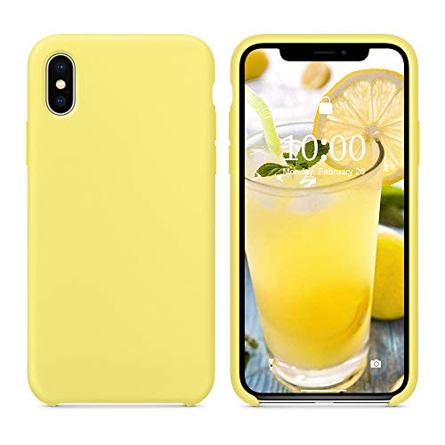 SURPHY Silicone Case for iPhone Xs Max Case, Soft Liquid Silicone Shockproof Phone Case (with Microfiber Lining) Compatible with iPhone Xs Max (2018) 6.5 inches (Yellow)