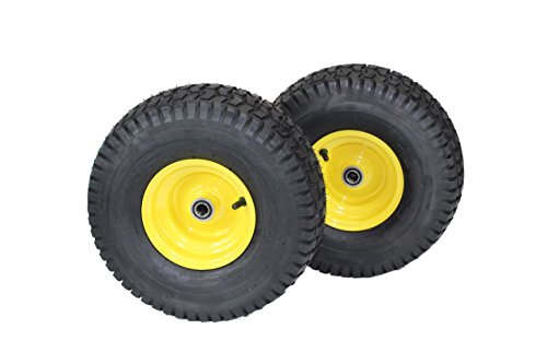 """(Set of 2) 15x6.00-6 Tires & Wheels 4 Ply for Lawn & Garden Mower Turf Tires .75"""" Bearing"""