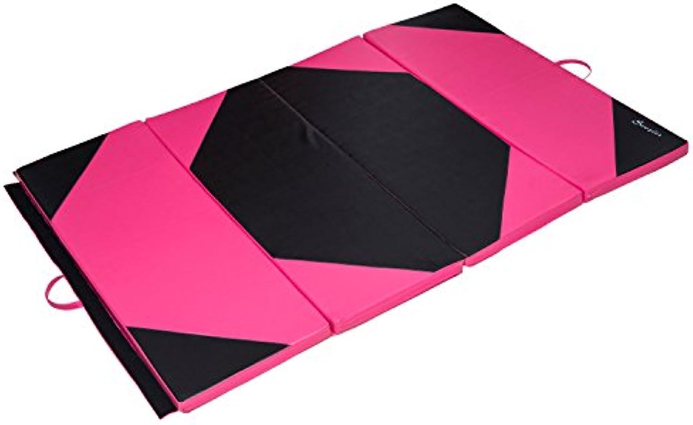 Soozier 4ftx6ftx2inch PU Leather Gymnastics Tumbling Gym Mat Arts Folding Yoga Exercise Pad 4 Panel