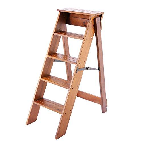 Inklapbare treden ladder huishouden keuken kruk multifunctioneel massief houten klapkruk beweegbare 5-laags ladder opvouwbaar sterk draagvermogen