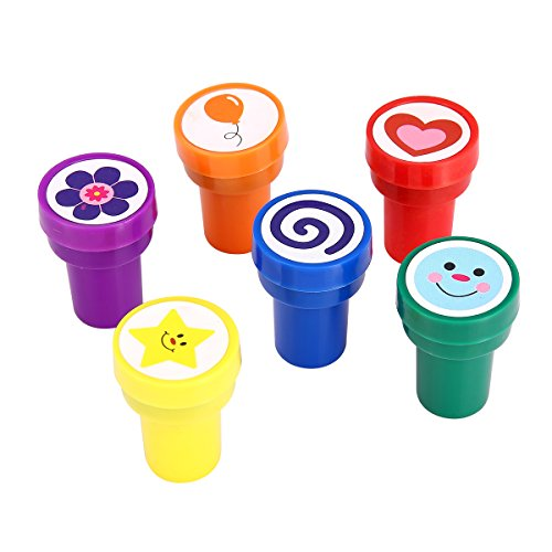 LUCKYBIRD Stamps for Kids, S1118 Best Self Inking Plastic Fun Stamps Set, 6 Count