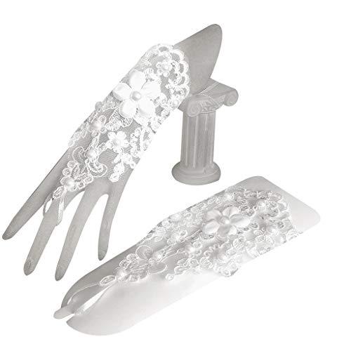 JIUYECAO 1 par de mujeres de novia corto guantes sin dedos bordado encaje floral apliques imitación perla decoración mitones cruz vendaje gancho dedo boda fiesta traje
