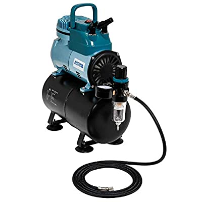 Master Airbrush Model TC-40T - Cool Runner Professional High Performance Single-Piston Airbrush Air Compressor with 3-Liter Air Tank, 2 Holders, Regulator, Gauge, Water Trap Filter & Air Hose