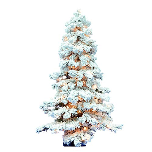 Vickerman 01563 - 4' x 29' Flocked Spruce Alpine 150 Clear Lights Christmas Tree (A806241)