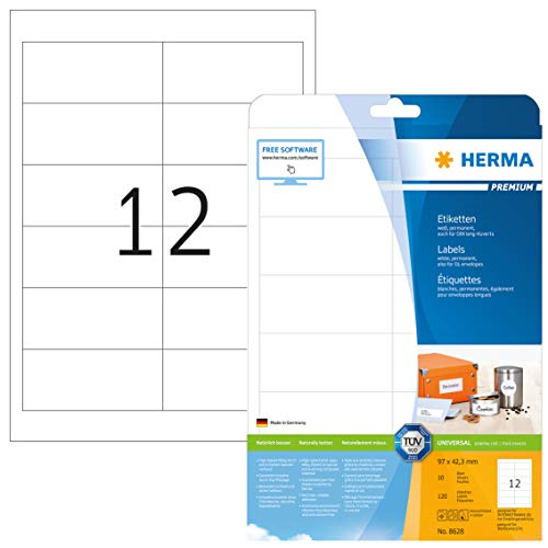 HERMA 8628 Universal Etiketten DIN A4 (97 x 42,3 mm, 10 Blatt, Papier, matt) selbstklebend, bedruckbar, permanent haftende Adressaufkleber, 120 Klebeetiketten, weiß
