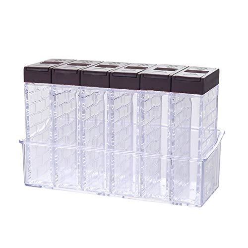 without logo AFTWLKJ 6 unids/Set Spice Sustisinging Box PP Salt Pepper Jars Caja para la Cocina Spice Storage Organizer Box Organización de la casa (Color : Brown)