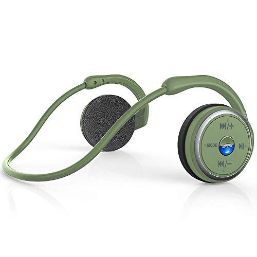 Auriculares Bluetooth Deportivos Estéreo Auriculares Inalámbricos In-Ear con Micrófono, Reducción de Ruido CVC6.0, Impermeables Plegables, Soporte Tarjeta TF y Radio FM, para Correr Deporte