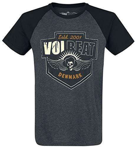 Volbeat Cross Männer T-Shirt grau meliert/schwarz L 60% Baumwolle, 40% Polyester Band-Merch, Bands