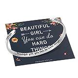 M MOOHAM Teen Girls Bracelet, Inspirational Gifts for Teenage Girls Bracelet Jewelry Graduation Gifts for Her, Beautiful Girls You Can Do Hard Things
