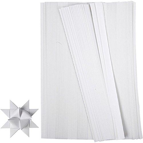Creativ Company 20931 Papierstreifen zum Falten von Sternen, 500 Stück, Weiß