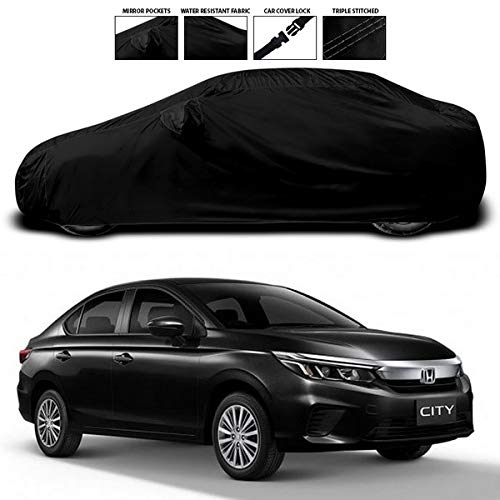 ANTHUB™ - Honda City ZX - DustProof Water and Heat Resistant Triple Stitched Car Body Cover with Mirror Pocket (Black)