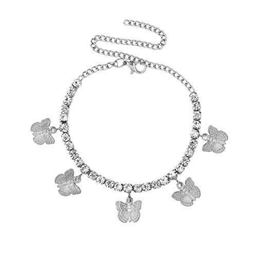 WEIYYY Charm Metal Butterfly Pie Cadena Mujer Lujo Oro Plata Color Cristal Tenis Tobillera Playa Pie Joyas, 001502SL