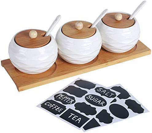 LUEUR Porcelain Condiment Jar Spice Container with Bamboo Lids Ceramic Spoons Wooden Serving product image