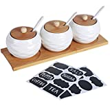 LUEUR Porcelain Condiment Jar Spice Container with Bamboo Lids, Ceramic Spoons & Wooden Serving Tray Ceramic 225ml Sugar Bowl Set of 3 For Kitchen W/Free Blackboard Adhesive Stickers 16 Labels