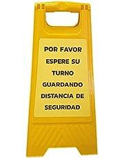"""Señal suelo cartel plegable""""ESPERE SU TURNO GUARDANDO DISTANCIA DE SEGURIDAD"""" doble cara, 61 X 30 cm. Color del mensaje a elegir"""