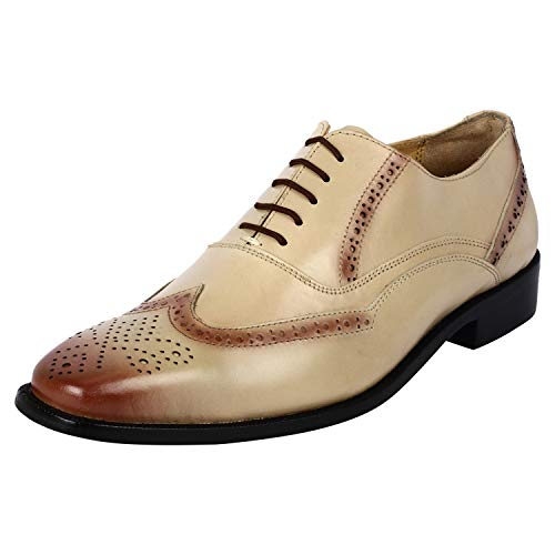 LIBERTYZENO Wingtip Brogue Dress Shoes for Men Genuine Leather Lace Up Formal Business Shoes