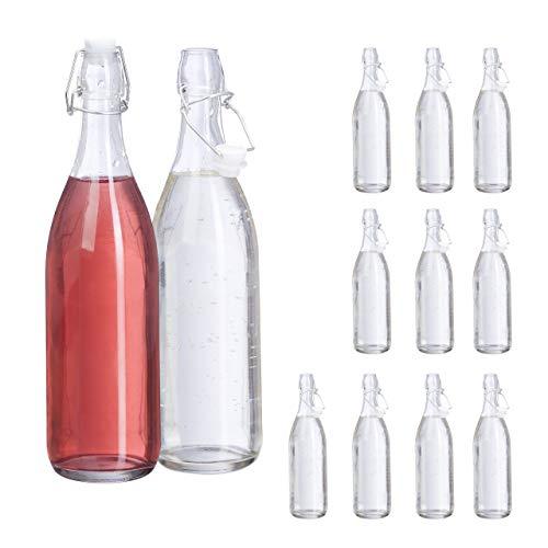 Relaxdays 10029994 glazen fles met beugelsluiting, 12 lege flessen om te vullen, voor sap, likeur, wijn, 1 l, transparant, glas