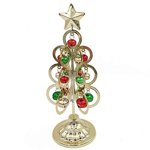 Kentop Mini Sapin de Noël en Fer pour décoration de Salon, Noël, décoration de Noël, Cadeau de Noël, Fer, Or, 10.5×9×26cm