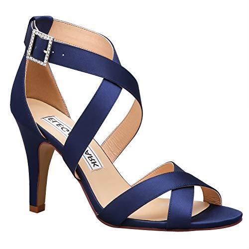 Duosheng & Elegant Women Strappy High Heel Sandals Cross Straps Open Toe Satin Wedding Evening Party Shoes