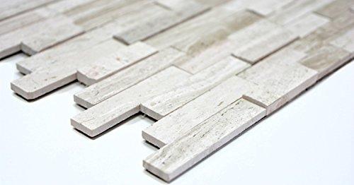 Mosaik Fliese selbstklebend Marmor Naturstein grauweiß Naturstein white wood für WAND BAD WC KÜCHE FLIESENSPIEGEL THEKENVERKLEIDUNG BADEWANNENVERKLEIDUNG Mosaikmatte Mosaikplatte Mosaikmuster