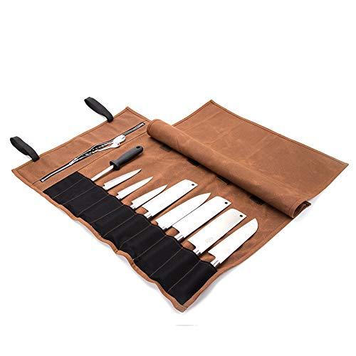 QEES Kochmesser Rolltasche Wasserdicht Reißverschluss Werkzeugtasche 15 Slots Küchenutensilien Aufbewahrungstasche (Kaki) HYDD20