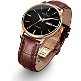 BOCCI Men's Wrist Watches Rose Gold Leather Band Brown Automatic Watch Mechanical Classic Casual Dress Waterproof Luminous …