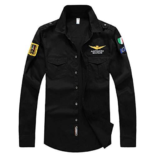 NOBRAND Nieuwe Luchtmacht Een Katoen Heren Shirt Casual Leger Fan Borduurwerk Lange Mouw Slim Fit Heren Shirt