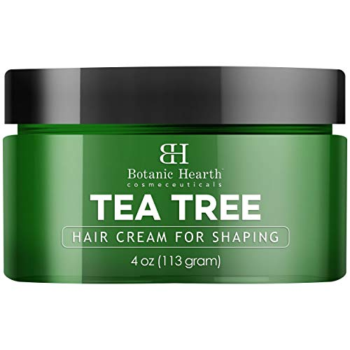 Botanic Hearth Tea Tree Shaping Hair Cream – Styling & Defining Cream – Matte Finish, Long Lasting Hold – Contains Fiber and a Blend of Natural Oils – Refreshing, All Hair Types – 4 oz