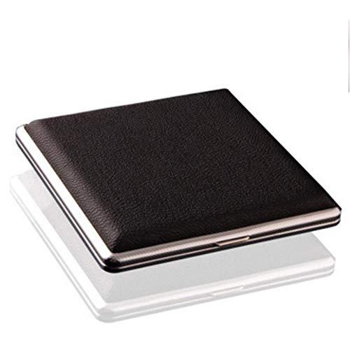 Nuluxi Porte-Cigarettes Portable Boîte Clip Portable Noir Cadre en Métal Étui à Cigarettes Noir Boîte Clip Porte-Cigarettes Elégant et Raffiné Accessoires pour Homme d'affaires, Jusqu'à 20 Cigarettes