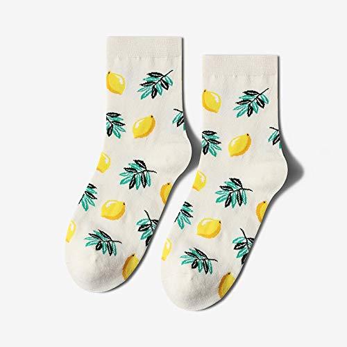 Calcetines Divertidos Para Mujer,3 Pares,Crazy Novelty Funky Socks,Estampado De Limón De Frutas Tropicales,Informal,Elegante,Peinado,Pareja,Algodón,Equipo De Oficina,Calcetines De Vestir,Diseño Lla