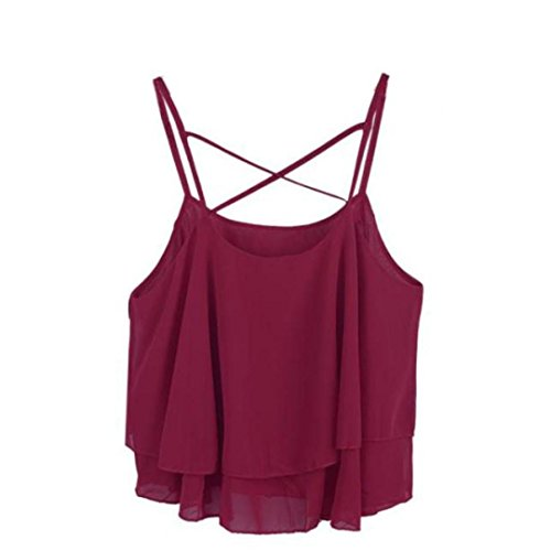 Voberry DDLBiz® Frauen Sommer Strap Chiffon Shirt Weste (WeinRot)