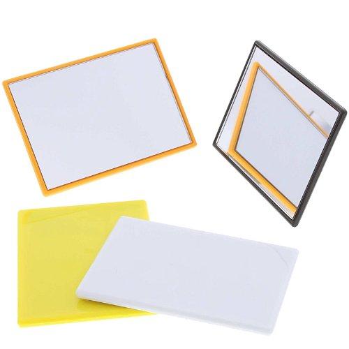 Eckiger kleiner Taschen-Spiegel - Handspiegel, Spiegel mit Kunststoff Korpus, Farbe Orange, Kosmetex