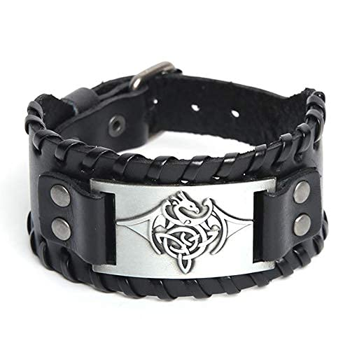 Viking - Pulsera de runa nórdica, ajustable, pulsera gótica, para pagan celta