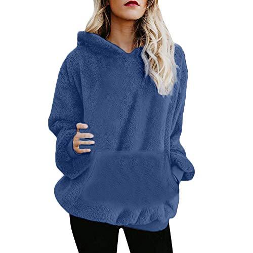 Mujer Caliente y Esponjoso Tops Chaqueta Suéter Abrigo Jersey Mujer Otoño-Invierno Talla Grande Hoodie Sudadera con Capucha riou (Azul Oscuro, XL)