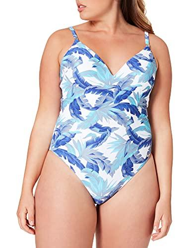 Tommy Hilfiger Damen ONE-Piece Badeanzug, Hilfiger Tropic Prism Blau, XL