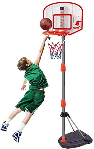 SONGYU-Basketball Set Portable Height Adjustable (97-170cm) Basketball Hoop Basketball Stand with Ball and Pump, Child Best Gift Basketball Stand
