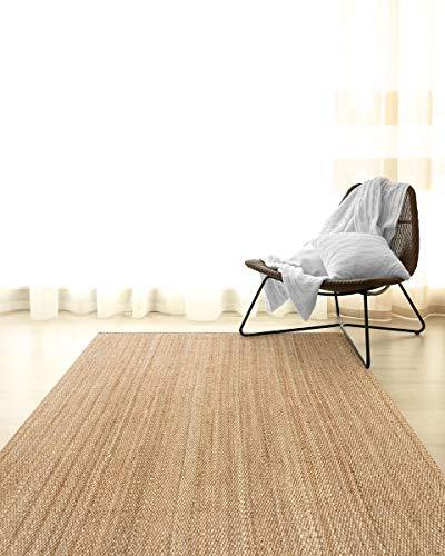HAMID Jute Teppich - Granada Teppich 100% Natürliche Jutefaser - Weicher Teppich und Hohe Festigkeit - Handgewebt - Wohnzimmer, Esszimmer, Schlafzimmer, Flurteppich - Natürlich (150x150cm) - 9